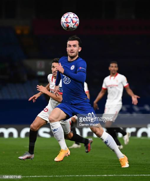 Ben Chilwell of Chelsea runs with the ball during the UEFA Champions League Group E stage match between Chelsea FC and FC Sevilla at Stamford Bridge...