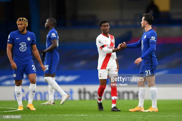 Ben Chilwell of Chelsea shakes hands with Nathan Tella of Southampton following the Premier League match between Chelsea and Southampton at Stamford...