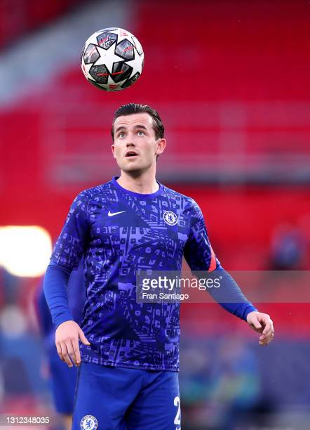 Ben Chilwell of Chelsea warms up prior to during the UEFA Champions League Quarter Final Second Leg match between Chelsea FC and FC Porto at Estadio...