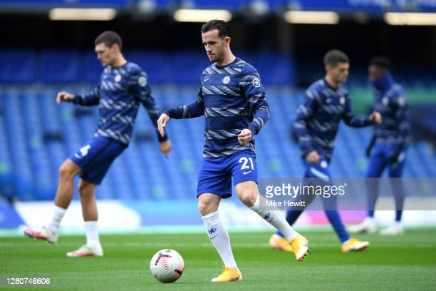 Ben Chilwell of Chelsea warms up prior to the Premier League match between Chelsea and Southampton at Stamford Bridge on October 17 2020 in London...