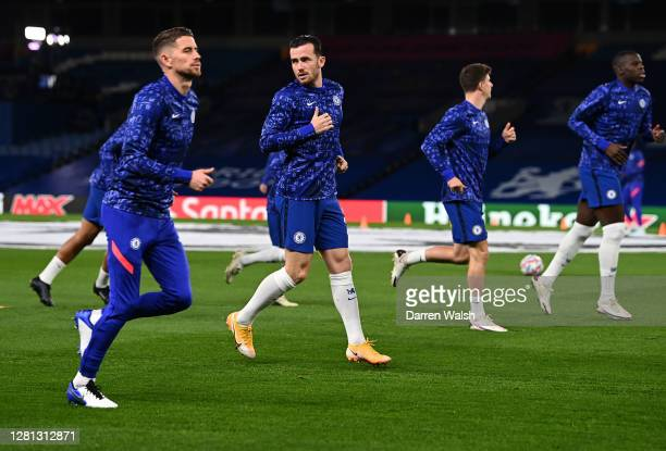 Ben Chilwell of Chelsea warms up prior to the UEFA Champions League Group E stage match between Chelsea FC and FC Sevilla at Stamford Bridge on...