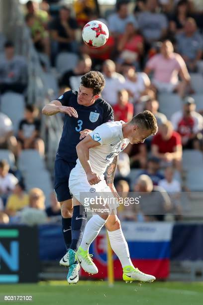 Ben Chilwell of England and Albert Rusnak of Slovakia battle for the ball during the 2017 UEFA European Under21 Championship match between Slovakia...