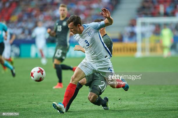 Ben Chilwell of England and Dominik Kohr of Germany during the UEFA European Under21 Championship Semi Final match between England and Germany at...