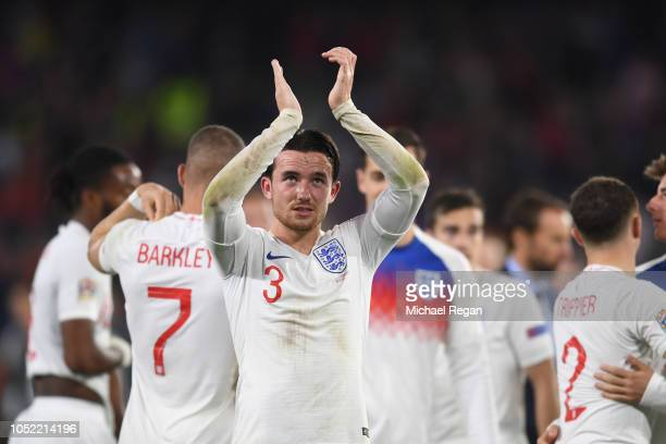 Ben Chilwell of England celebrates after the match during the UEFA Nations League A group four match between Spain and England at Estadio Benito...