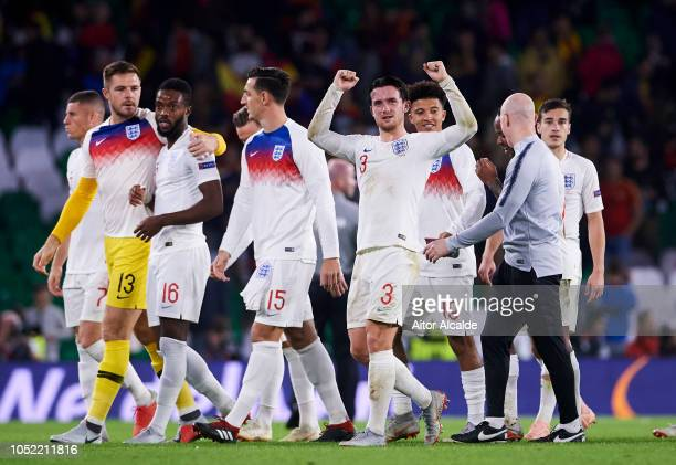 Ben Chilwell of England celebrates victory after the UEFA Nations League A Group Four match between Spain and England at Estadio Benito Villamarin on...