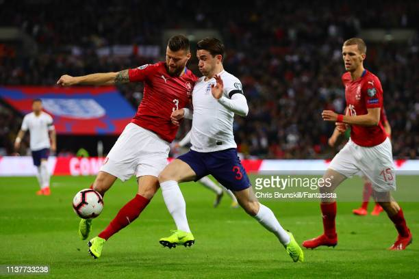 Ben Chilwell of England in action with Ondrej Celustka of Czech Republic during the 2020 UEFA European Championships group A qualifying match between...