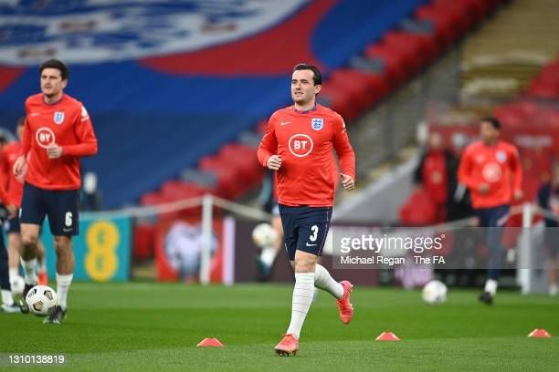Ben Chilwell of England warms up prior to the FIFA World Cup 2022 Qatar qualifying match between England and Poland on March 31, 2021 at Wembley...
