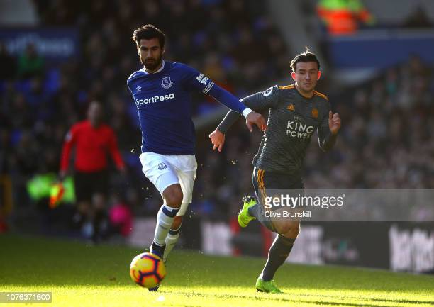 Ben Chilwell of Leicester City and Andre Gomes of Everton battle for the ball during the Premier League match between Everton FC and Leicester City...