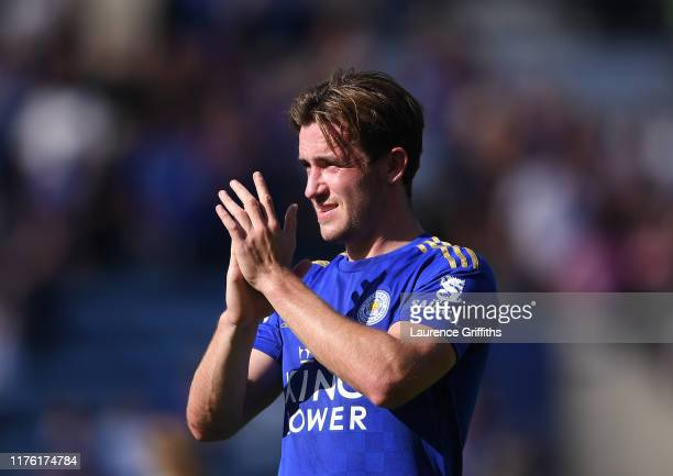 Ben Chilwell of Leicester City applauds the fans after victory during the Premier League match between Leicester City and Tottenham Hotspur at The...
