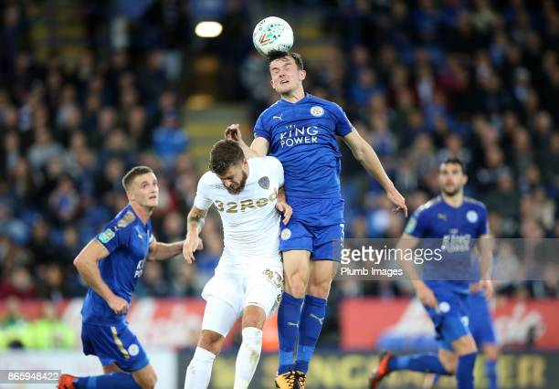 Ben Chilwell of Leicester City beats Mateusz Klich of Leeds United to the header during the Carabao Cup fourth round match between Leicester City and...