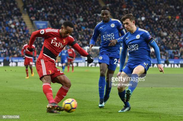 Ben Chilwell of Leicester City blocks a cross from Andre Carillo of Watford during the Premier League match between Leicester City and Watford at The...