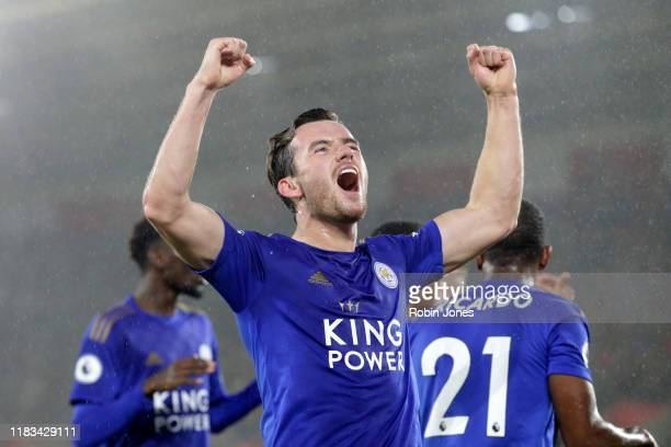 Ben Chilwell of Leicester City celebrates after he scores a goal to make it 1-0 during the Premier League match between Southampton FC and Leicester...