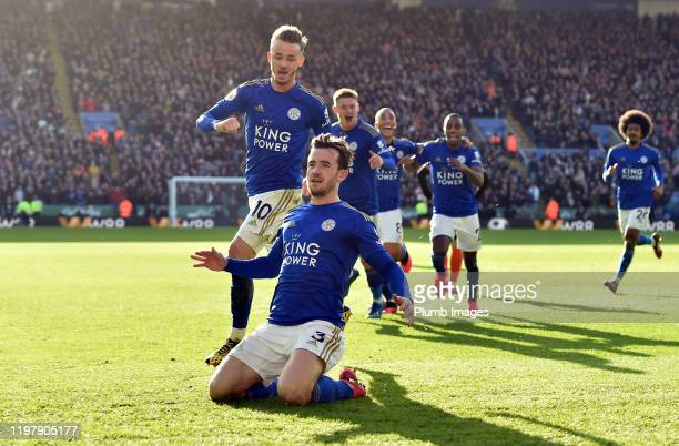 Ben Chilwell of Leicester City celebrates after putting Leicester 21 ahead during the Premier League match between Leicester City and Chelsea FC at...