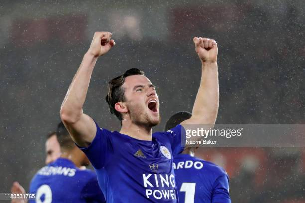 Ben Chilwell of Leicester City celebrates after scoring his team's first goal during the Premier League match between Southampton FC and Leicester...
