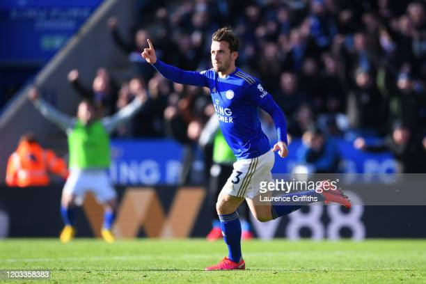 Ben Chilwell of Leicester City celebrates after scoring his team's second goal during the Premier League match between Leicester City and Chelsea FC...