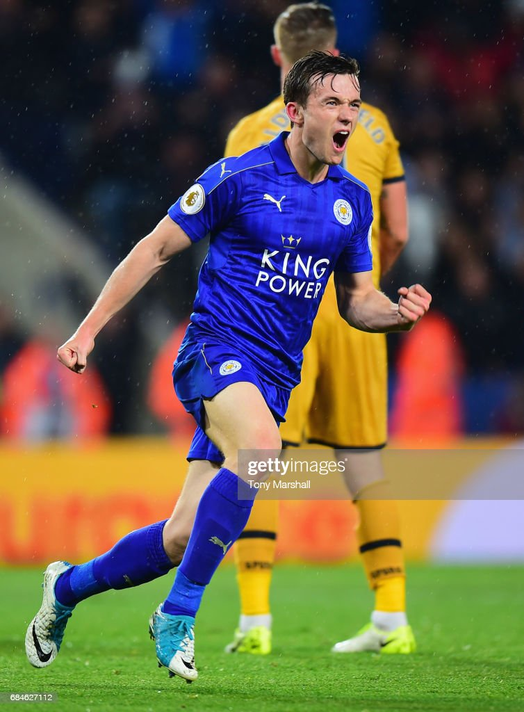 Ben Chilwell of Leicester City celebrates as he scores their first goal during the Premier League match between Leicester City and Tottenham Hotspur at The King Power Stadium on May 18, 2017 in Leicester, England.