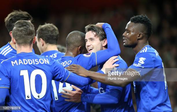 Ben Chilwell of Leicester City celebrates with his team mates after scoring to make it 01 during the Premier League match between Arsenal FC and...
