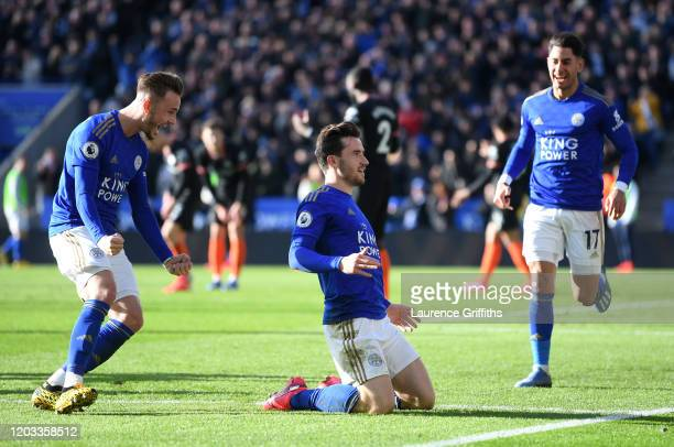 Ben Chilwell of Leicester City celebrates with James Maddison and Ayoze Perez of Leicester City after scoring his team's second goal during the...
