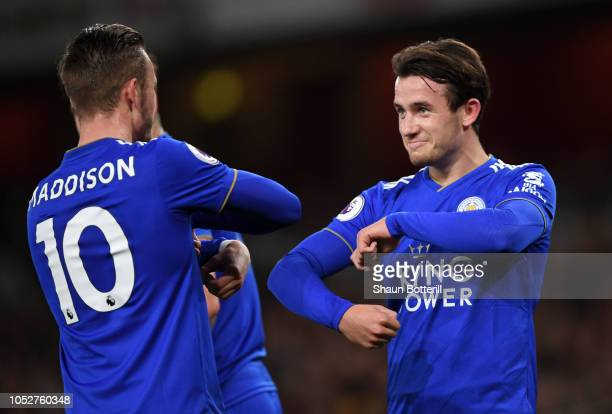 Ben Chilwell of Leicester City celebrates with James Maddison of Leicester City after he scores his sides first goal during the Premier League match...