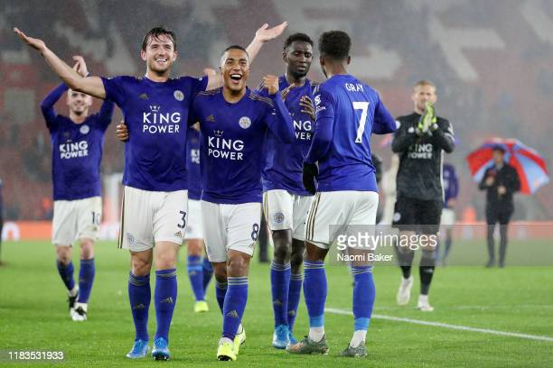 Ben Chilwell of Leicester City celebrates with Youri Tielemans of Leicester City after the Premier League match between Southampton FC and Leicester...