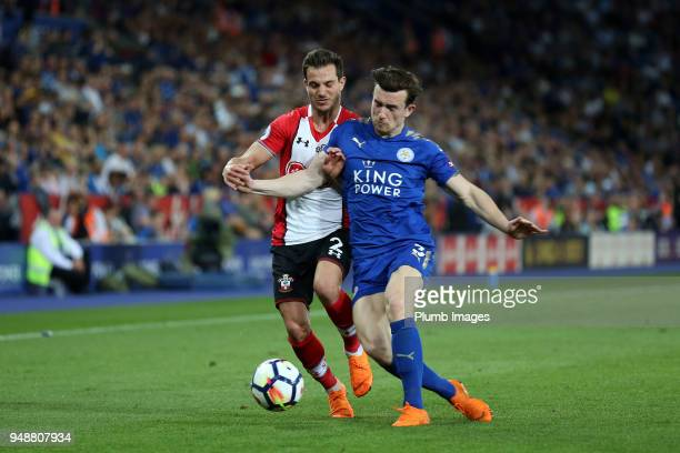 Ben Chilwell of Leicester City challenges Cedric Soares of Southampton during the Premier League match between Leicester City and Southampton at King...