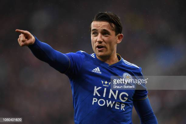 Ben Chilwell of Leicester City gestures during the Premier League match between Leicester City and Everton FC at The King Power Stadium on October 06...