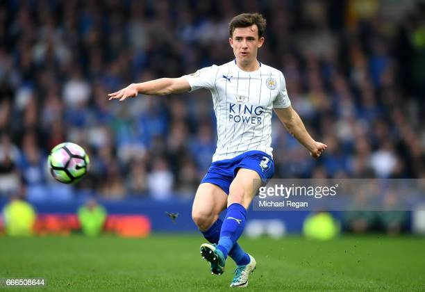 Ben Chilwell of Leicester City in action during the Premier League match between Everton and Leicester City at Goodison Park on April 9 2017 in...