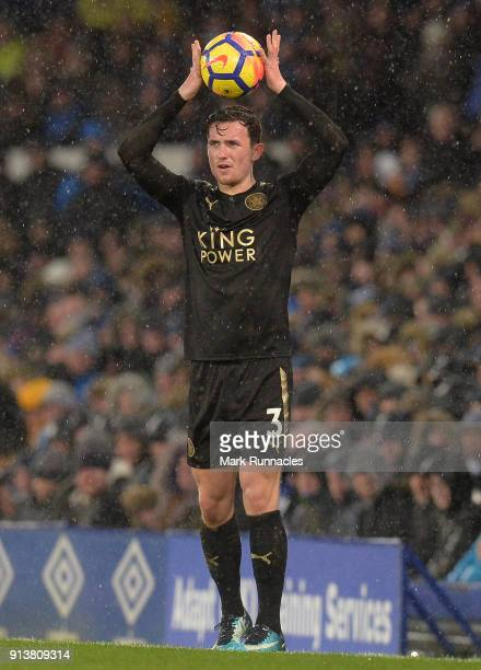 Ben Chilwell of Leicester City in action during the Premier League match between Everton and Leicester City at Goodison Park on January 31 2018 in...