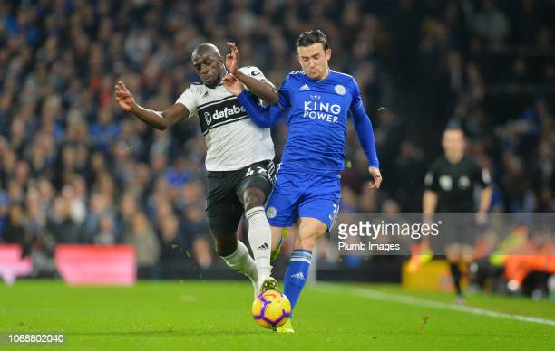 Ben Chilwell of Leicester City in action with Aboubakar Kamara of Fulham during the Premier League match between Fulham FC and Leicester City at...