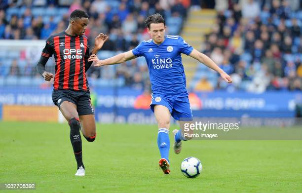 Ben Chilwell of Leicester City in action with Adama Diakhaby of Huddersfield Town during the Premier League match between Leicester City and...