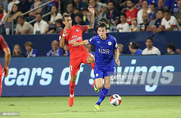 Ben Chilwell of Leicester City in action with Angel Di Maria of Paris SaintGermain during the ICC Cup match between Paris SaintGermain and Leicester...