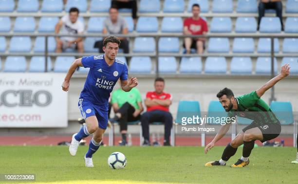 Ben Chilwell of Leicester City in action with Aykut Gevtket of Akhisarspor during the preseason friendly match between Leicester City and Akhisarspor...