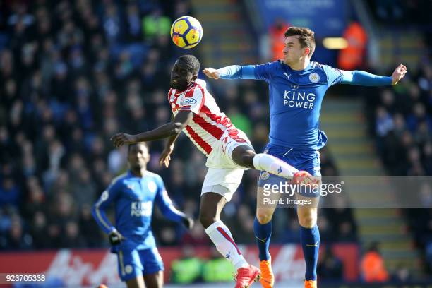 Ben Chilwell of Leicester City in action with Badou Ndiaye of Stoke City during the Premier League match between Leicester City and Stoke City at...