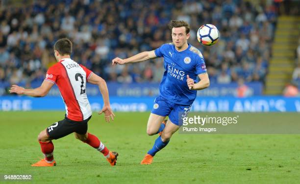 Ben Chilwell of Leicester City in action with Cedric Soares of Southampton during the Premier League match between Leicester City and Southampton at...