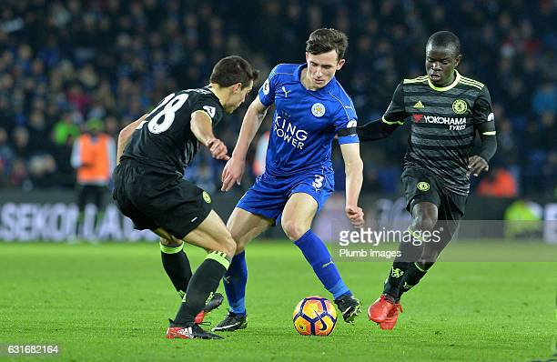 Ben Chilwell of Leicester City in action with Cesar Azpilicueta of Chelsea during the Premier League match between Leicester City and Chelsea at King...