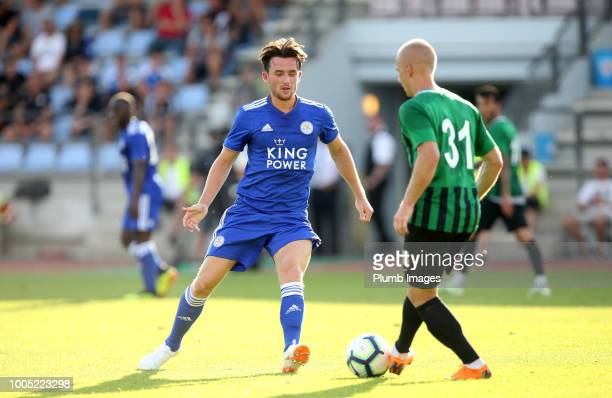Ben Chilwell of Leicester City in action with Daniel Larsson of Akhisarspor during the preseason friendly match between Leicester City and...