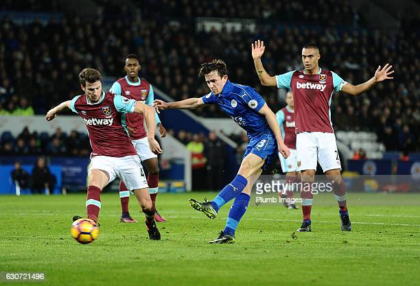 Ben Chilwell of Leicester City in action with Havard Nordtveit of West Ham during the Barclays Premier League match between Leicester City and West...