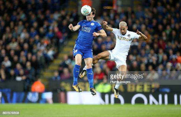 Ben Chilwell of Leicester City in action with Kemar Roofe of Leeds United during the Carabao Cup match between Leicester City and Leeds United at...