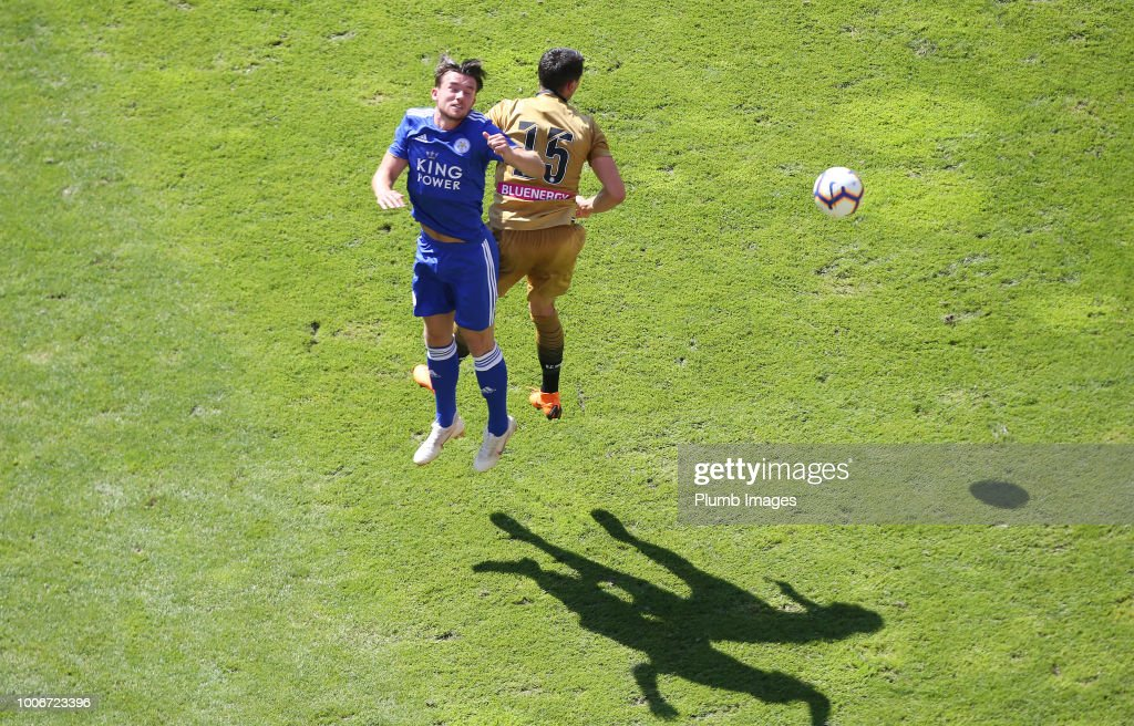 Ben Chilwell of Leicester City in action with Kevin Lasagna of Udinese during the pre-season friendly match between Leicester City and Udinese at Worthersee Stadion on July 28, 2018 in Klagenfurt, Austria.