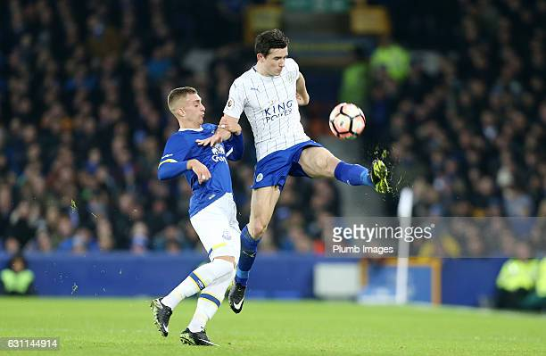 Ben Chilwell of Leicester City in action with Kevin Mirallas of Everton during the FA Cup third round tie between Everton and Leicester City at...