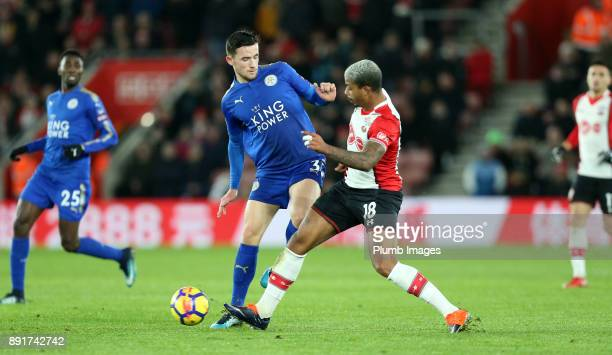 Ben Chilwell of Leicester City in action with Mario Lemina of Southampton during the Premier League match between Southampton and Leicester City at...