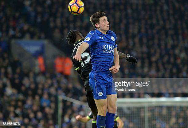 Ben Chilwell of Leicester City in action with Victor Moses of Chelsea during the Premier League match between Leicester City and Chelsea at King...
