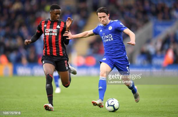 Ben Chilwell of Leicester City is challenged by Adama Diakhaby of Huddersfield Town during the Premier League match between Leicester City and...