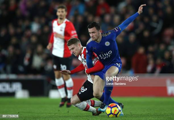 Ben Chilwell of Leicester City is challenged by Steven Davis of Southampton during the Premier League match between Southampton and Leicester City at...