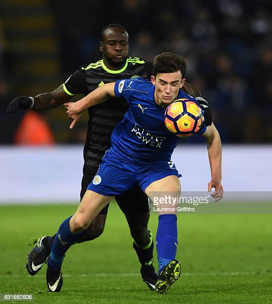 Ben Chilwell of Leicester City is challenged by Victor Moses of Chelsea during the Premier League match between Leicester City and Chelsea at The...