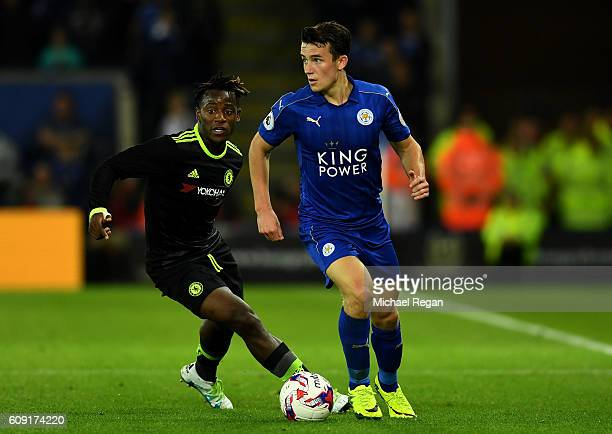 Ben Chilwell of Leicester City is closed down by Michy Batshuayi of Chelsea during the EFL Cup Third Round match between Leicester City and Chelsea...