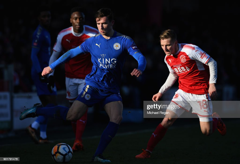Ben Chilwell of Leicester City is watched by George Glendon of Fleetwood Town during the The Emirates FA Cup Third Round match between Fleetwood Town and Leicester City at Highbury Stadium on January 6, 2018 in Fleetwood, England.