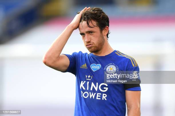 Ben Chilwell of Leicester City reacts during the Premier League match between Leicester City and Brighton & Hove Albion at The King Power Stadium on...