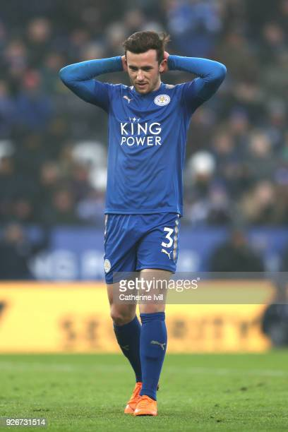 Ben Chilwell of Leicester City reacts during the Premier League match between Leicester City and AFC Bournemouth at The King Power Stadium on March 3...
