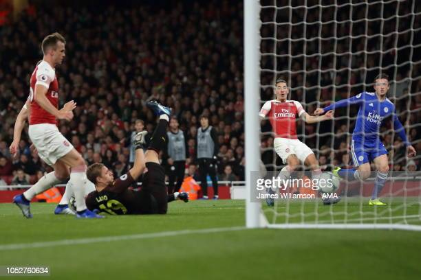 Ben Chilwell of Leicester City scores a goal to make it 10 during the Premier League match between Arsenal FC and Leicester City at Emirates Stadium...